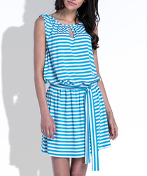 Turquoise cotton blend stripe mini dress