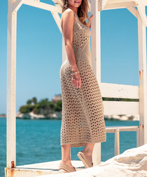 Beige netted maxi dress