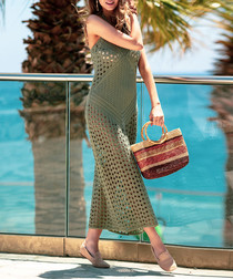 Olive netted maxi dress