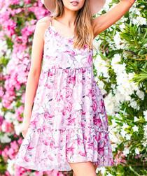 Pink floral print mini dress