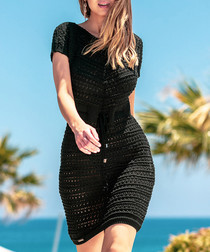 Black mesh tie-waist dress
