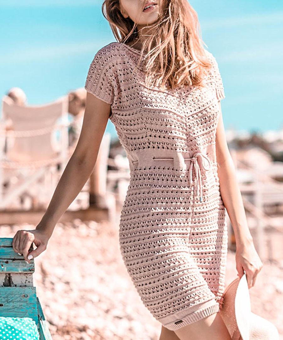 Pink powder mesh tie-waist dress Sale - fobya