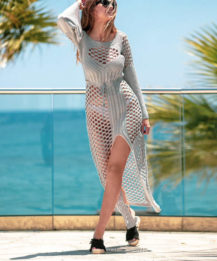 Grey mesh maxi dress Sale - fobya