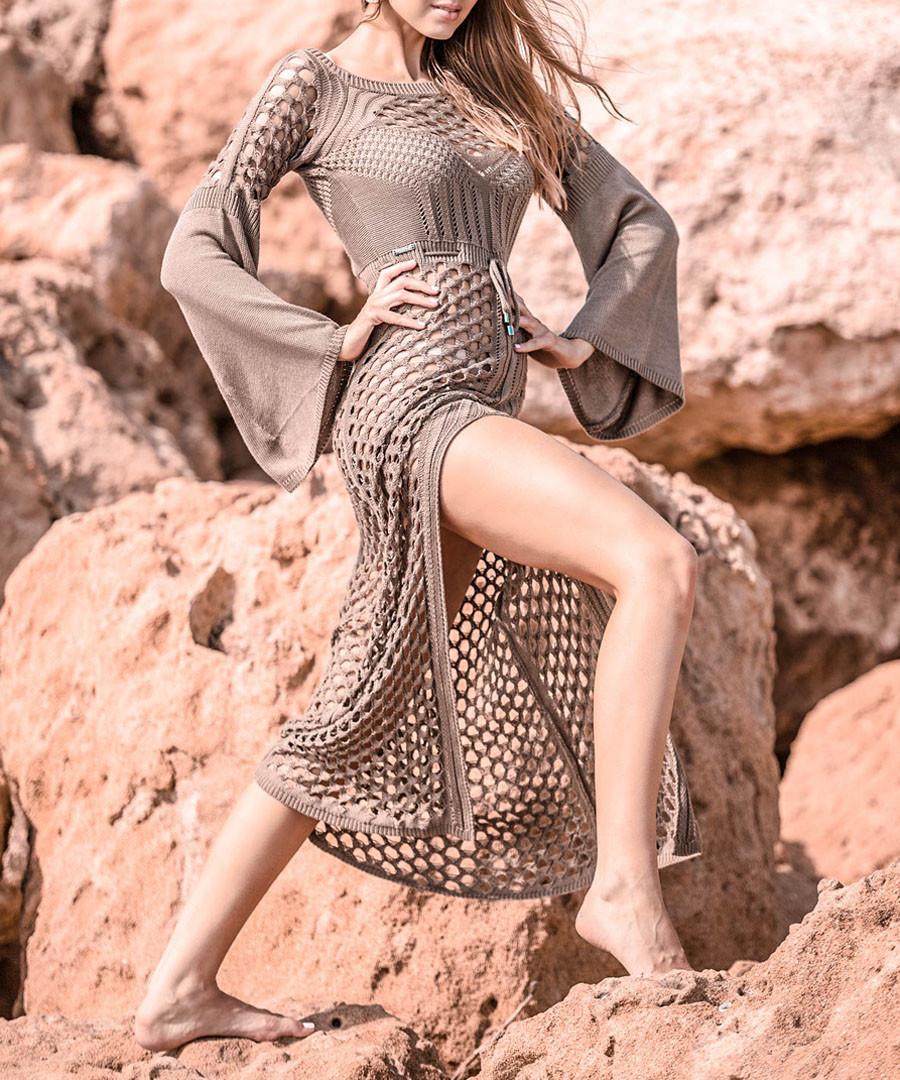Mocha mesh maxi dress Sale - fobya