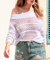 White mesh off-the-shoulder top