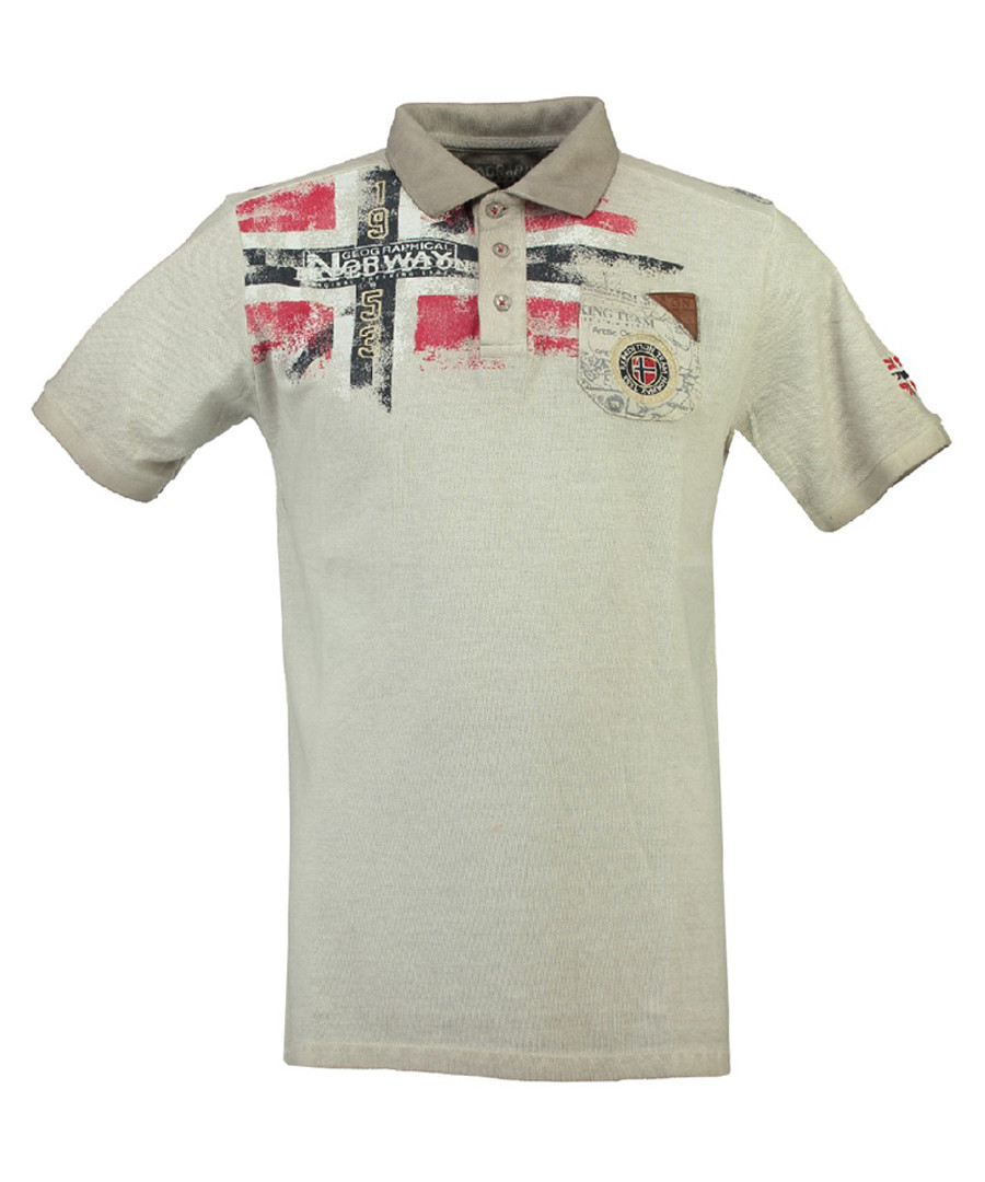 Kamo grey pure cotton grunge polo top Sale - geographical norway