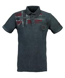 Kamo navy pure cotton grunge polo top