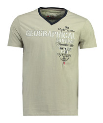 Jilitary grey pure cotton V-neck T-shirt