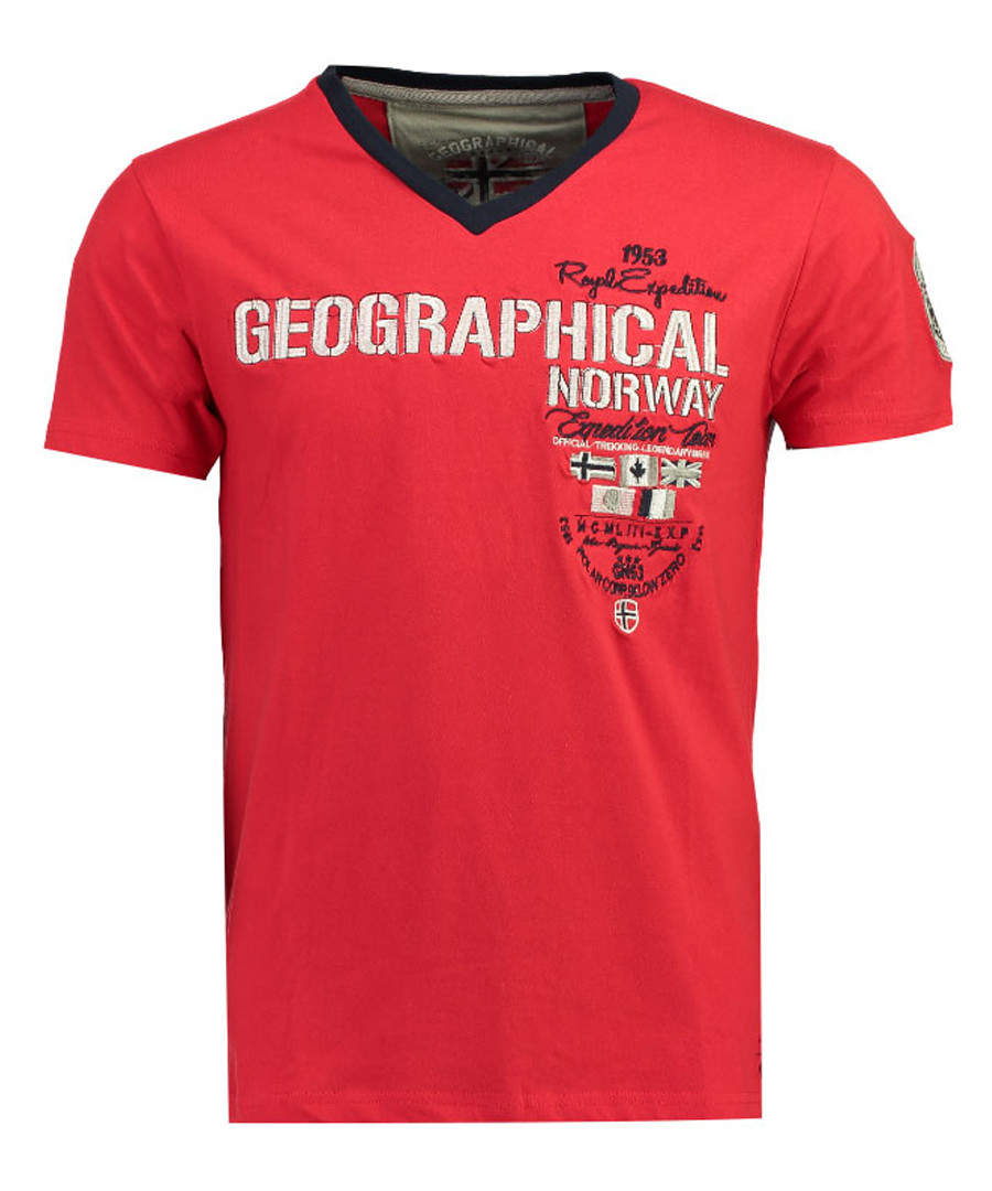 Jilitary red pure cotton V-neck T-shirt Sale - geographical norway