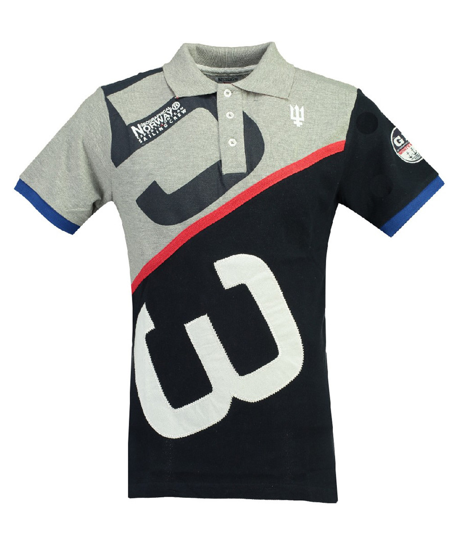 Kanoe grey & navy pure cotton polo top Sale - geographical norway
