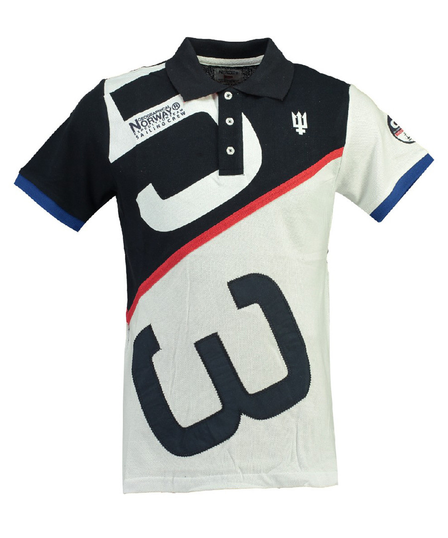 Kanoe white & navy pure cotton polo top Sale - geographical norway