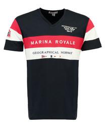 Jartimi navy pure cotton print T-shirt