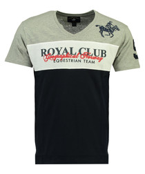 Jice navy pure cotton print T-shirt
