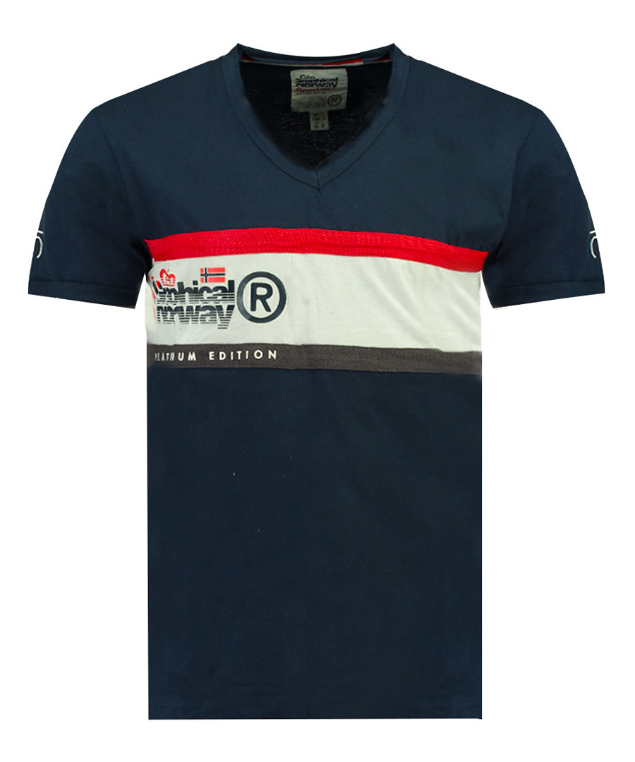 Jeddy navy pure cotton print T-shirt Sale - geographical norway