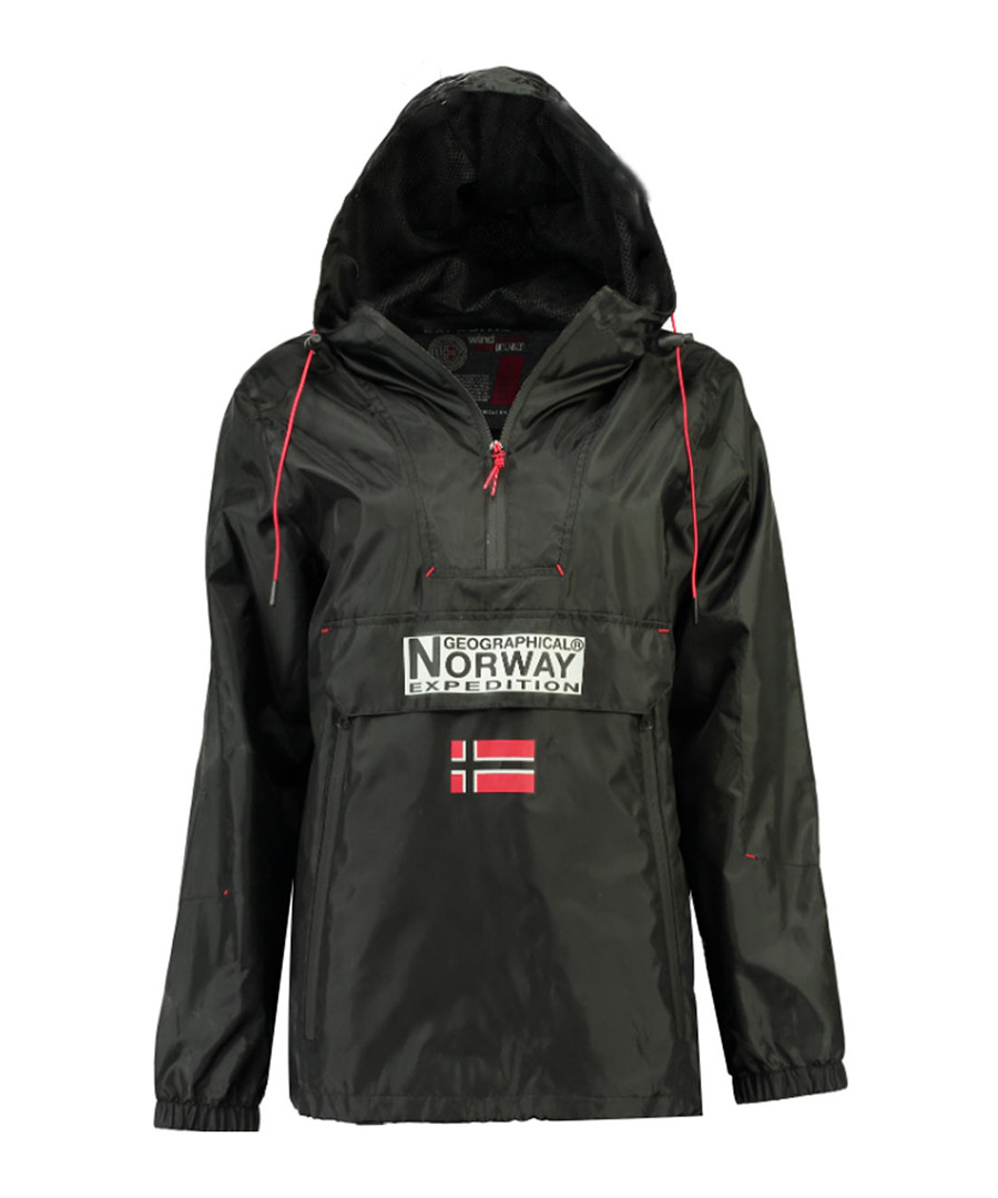 Downcity black logo rain coat Sale - geographical norway