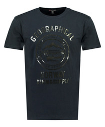 Jiday navy pure cotton logo T-shirt