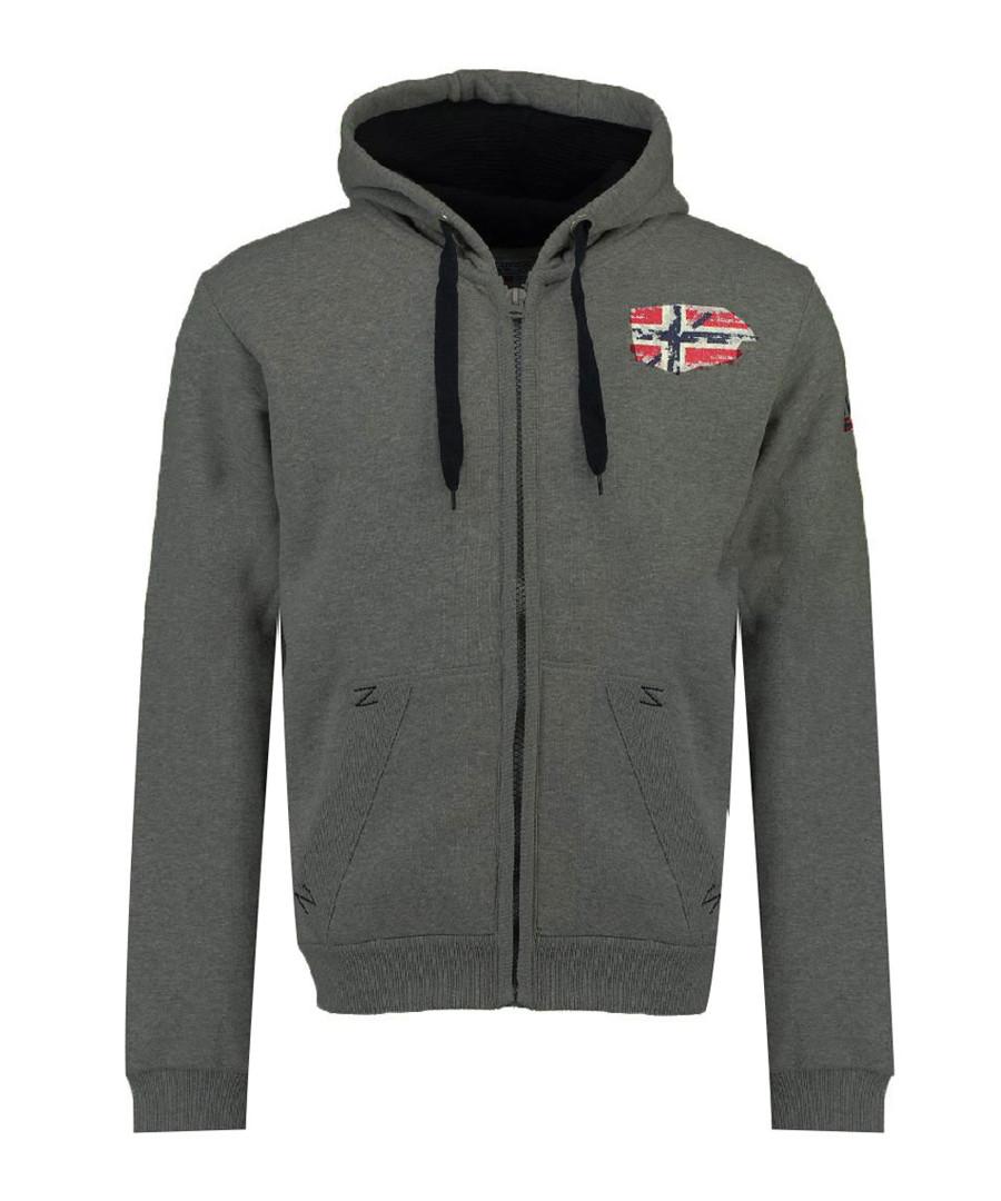 Glacier dark grey zip-up hoodie Sale - geographical norway
