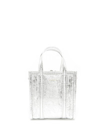 Silver-tone leather shopper