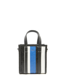 Black blue & white stripe shopper