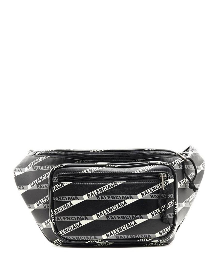 Black leather logo print belt bag Sale - balenciaga