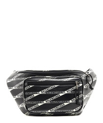 Black leather logo print belt bag