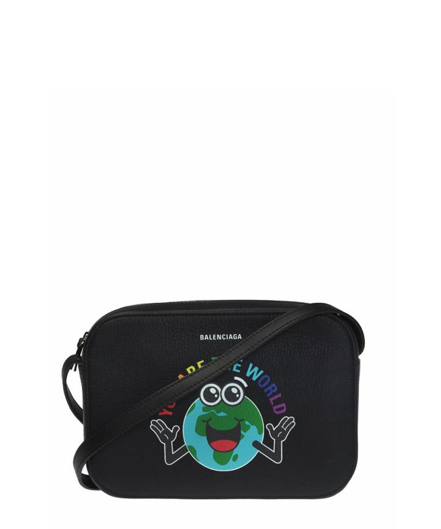 Black leather world print crossbody bag Sale - balenciaga