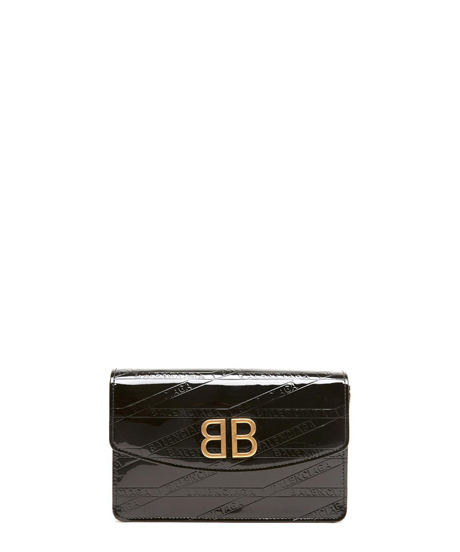 Black leather logo crossbody bag Sale - balenciaga