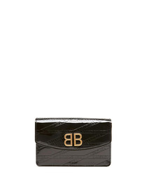 Black leather logo crossbody bag
