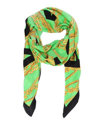 Green pure silk chain printed scarf
