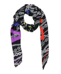 Multi-color pure silk print chain scarf