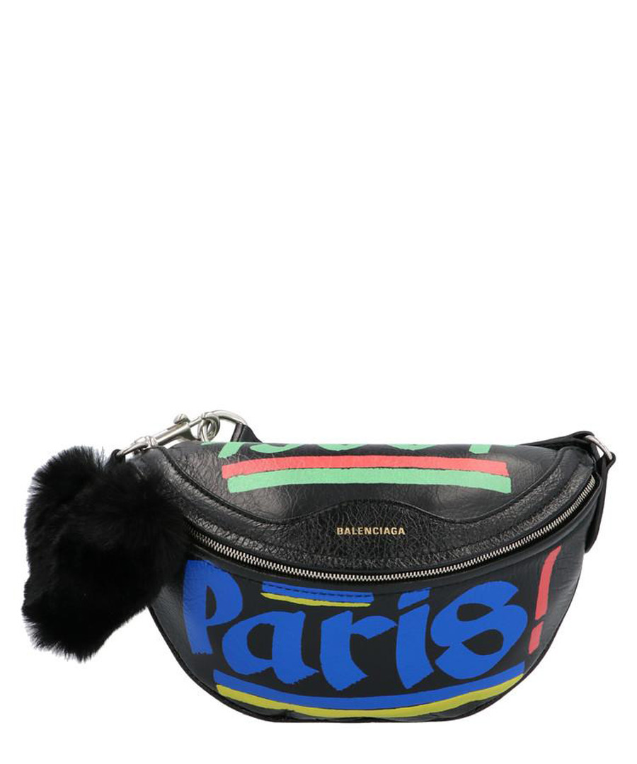 Black leather Paris print belt bag Sale - balenciaga
