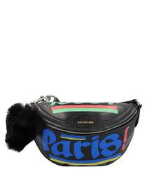 Black leather Paris print belt bag