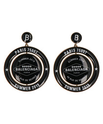 Black logo earrings