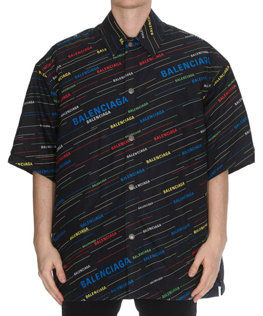 Black multi-colour logo print shirt Sale - balenciaga