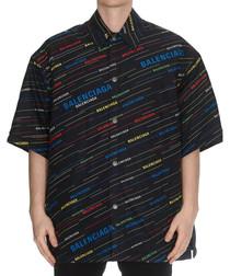 Black multi-colour logo print shirt