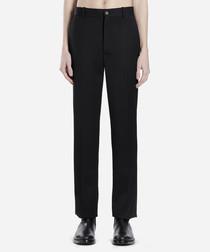 Black wool blend trousers