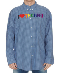 Blue I heart techno print check shirt