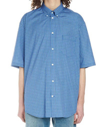 Blue pure cotton micro check shirt