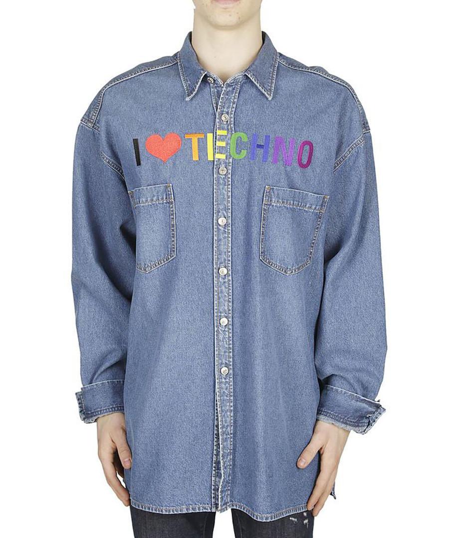 Blue I heart techno print shirt Sale - balenciaga