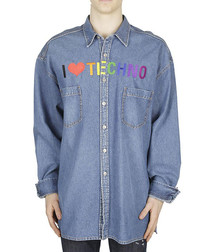 Blue I heart techno print shirt