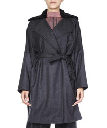 pieddepoule grey belted coat fw 2018