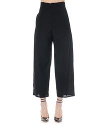 Black pure wool palazzo pants