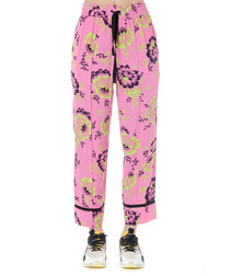 Pink floral print trousers
