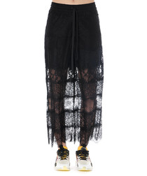 Black sheer lace panel trousers