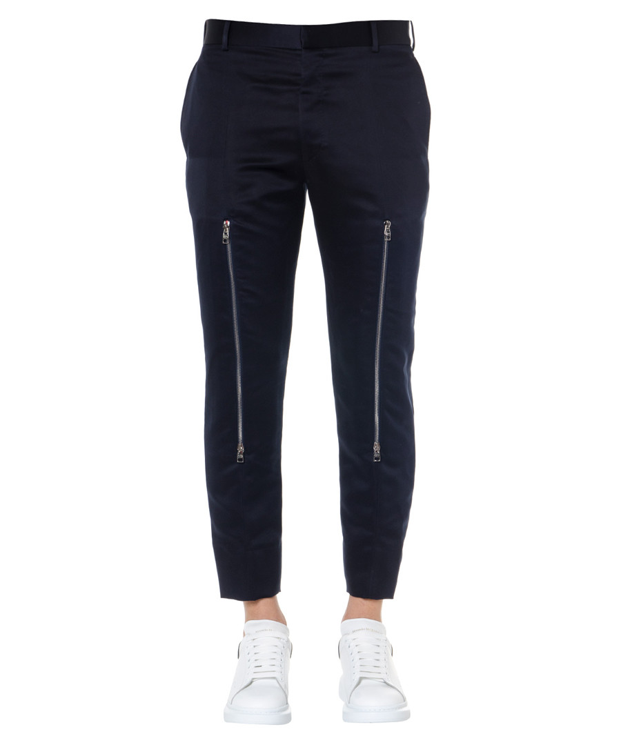 Navy twill cotton zipped trousers Sale - alexander mcqueen