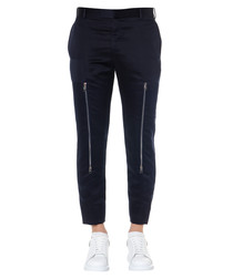 Navy twill cotton zipped trousers