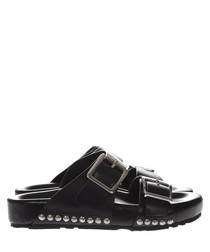 Black studded leather buckle sandals