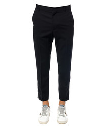 Doherty black pure wool zipped trousers