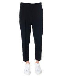 Black wool blend cropped trousers