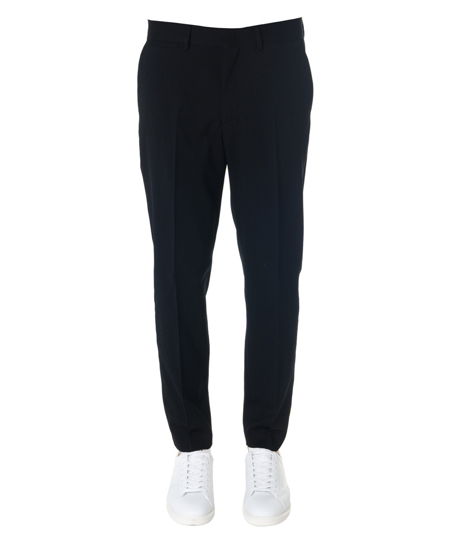 Black wool blend straight leg trousers Sale - alexander mcqueen